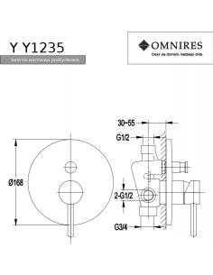 Bateria wannowa Omnires Y podtynkowa, chrom Y1235