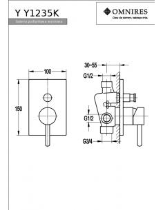 Bateria wannowa Omnires Y podtynkowa, chrom Y1235/K