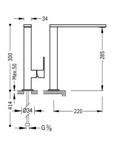 Bateria kuchenna TRES COCINA EXCLUSIVE chrom/czarny stojąca 606486
