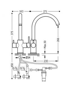 Bateria kuchenna TRES COCINA SELECTION chrom stojąca 03035501