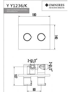 Bateria wannowa podtynkowa Omnires Y termostatyczna, chrom Y1236/K