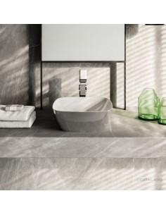Umywalka nablatowa CATALANO GREEN LUX 40x40 biało-srebrna 140APGRLXBA