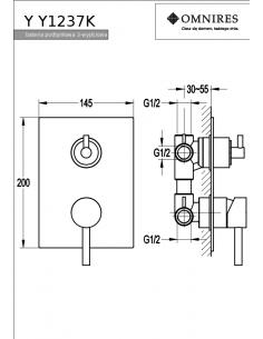 Bateria trójwyjściowa Omnires Y podtynkowa, chrom Y1237/K
