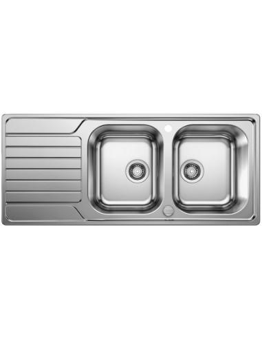 Zlewozmywak kuch. wpuszczany, odwracalny BLANCO DINAS 8 S 1160x500 mm korek automatyczny, stal 524115