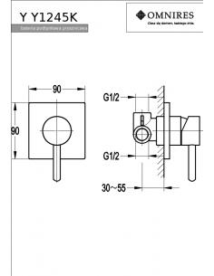 Bateria prysznicowa Omnires Y podtynkowa, chrom Y1245/K