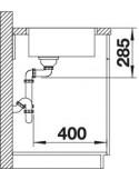 Zlewozmywak kuch. wpuszczany, nieodwracalny BLANCO SUPRA 500-IF 540x440 mm korek manualny, stal 523361
