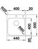 Zlewozmywak kuch. wpuszczany, nieodwracalny BLANCO SUPRA 400-IF/A 500x440 mm korek manualny, stal 523358