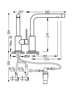 Bateria kuchenna TRES COCINA SELECTION chrom stojąca 162453