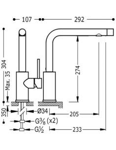 Bateria kuchenna TRES COCINA SELECTION chrom stojąca 162456