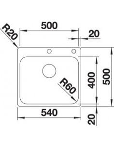 Zlewozmywak kuch. wpuszczany, nieodwracalny BLANCO SUPRA 500-IF/A 540x500 mm korek automatyczny, stal 523362