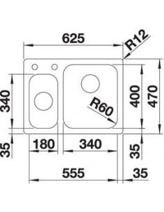 Zlewozmywak kuch. wpuszczany, nieodwracalny BLANCO SUPRA 340/180-IF/A 625x470 mm korek automatyczny, stal 523367