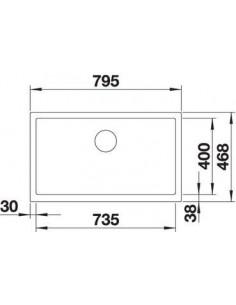 Zlewozmywak kuch. podwieszany, nieodwracalny BLANCO CRONOS XL 8-U 795x468 mm korek manualny (InFino), stal 523380