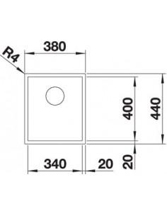 Zlewozmywak kuch. montaż na równi z blatem BLANCO ZEROX 340-IF 440x380 mm korek manualny (InFino), stal Durinox® 523096