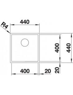 Zlewozmywak kuch. montaż na równi z blatem BLANCO ZEROX 400-IF 440x440 mm korek manualny (InFino), stal Durinox® 523097