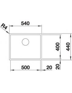 Zlewozmywak kuch. montaż na równi z blatem BLANCO ZEROX 500-IF 540x440 mm korek manualny (InFino), stal Durinox® 523098