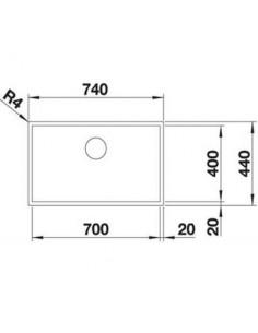 Zlewozmywak kuch. montaż na równi z blatem BLANCO ZEROX 700-IF 740x440 mm korek manualny (InFino), stal Durinox® 523099