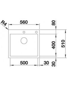 Zlewozmywak kuch. wpuszcz. BLANCO ZEROX 500-IF/A 560x510 mm korek automatyczny (InFino, PushControl®), stal Durinox® 523101
