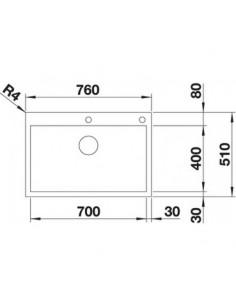 Zlewozmywak kuch. wpuszcz. BLANCO ZEROX 700-IF/A 760x510 mm korek automatyczny (InFino, PushControl®), stal Durinox® 523102