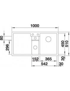 Zlewozmywak kuch. wpuszczany, nieodwracalny BLANCO COLLECTIS 6S 1000x510 mm korek automatyczny (InFino), alumetalik 523346