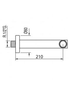 Wylewka ścienna do baterii Tres Complementos 210mm chrom 06117202