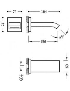 Wylewka podtynkowa kaskada do baterii Tres Complementos chrom 107181