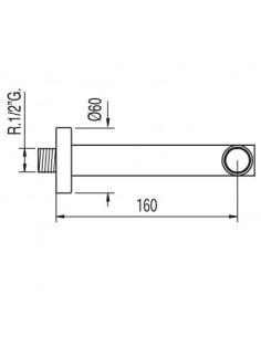 Wylewka do baterii Tres Complementos 160mm ścienna chrom 16117002