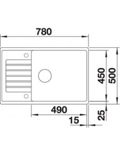 Zlewozmywak kuch. wpuszcz. odwracalny BLANCO ZIA XL 6 S Compact 780x500 mm korek aut. z pokrętłem ze stali, jaśmin 523268