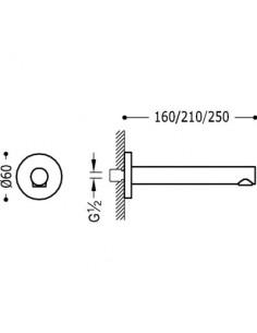 Wylewka do baterii Tres Complementos 250mm ścienna chrom 16117102