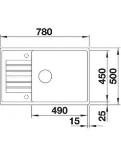 Zlewozmywak kuch. wpuszcz. odwracalny BLANCO ZIA XL 6 S Compact 780x500 mm korek aut. z pokrętłem ze stali, tartufo 523270