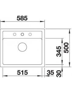 Zlewozmywak kuch. wpuszczany, nieodwracalny BLANCO LEGRA 6 585x500 mm korek manualny, alumetalik 523333