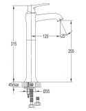 Bateria umywalkowa wysoka Omnires Art Deco AD5112 CR