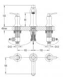 Bateria umywalkowa 3-otworowa Omnires Art Deco AD5114 CR