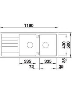 Zlewozmywak kuch. wpuszczany, odwracalny BLANCO LEGRA 8S 1160x500 mm korek manualny, biały 523165