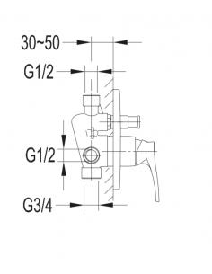 Bateria wannowa podtynkowa Omnires Art Deco chrom AD5135 CR