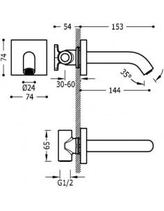 Wylewka do baterii Tres Complementos ścienna chrom 21018107