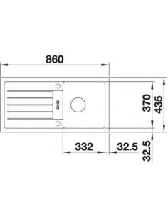 Zlewozmywak kuch. wpuszczany, odwracalny BLANCO FAVUM 45S 860x435 mm korek manualny, alumetalik 524228
