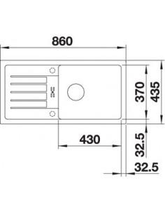 Zlewozmywak kuch. wpuszczany, odwracalny BLANCO FAVUM XL 6S 860x435 mm korek manualny, alumetalik 524234