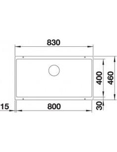 Zlewozmywak kuch. podwieszany, nieodwracalny BLANCO SUBLINE 800-U 830x460 mm korek manualny (InFino®), alumetalik 523143