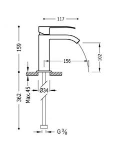 Bateria umywalkowa Tres CUADRO EXCLUSIVE stojąca czarny mat 00610101NMD
