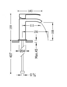 Bateria umywalkowa Tres CUADRO EXCLUSIVE stojąca czarny/chrom 00611001NED