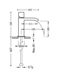 Bateria umywalkowa Tres CUADRO EXCLUSIVE stojąca czarny/chrom 00611002NED