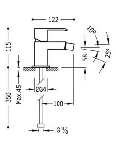 Bateria bidetowa Tres CUADRO EXCLUSIVE biały/chrom 00612001BLD