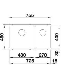 Zlewozmywak kuch. podwieszany, nieodwracalny BLANCO SUBLINE 430/270-U 755x460 mm korek manualny (InFino®), szampan 523157
