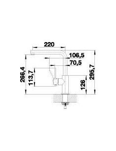 Bateria kuchenna stojąca BLANCO LANORA dźwignia po prawej stronie, stal 523122