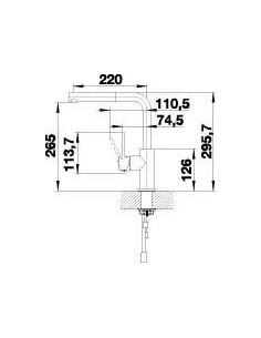 Bateria kuchenna stojąca BLANCO LANORA-S dźwignia po prawej stronie, stal 523123