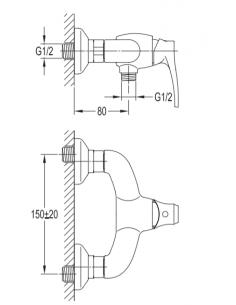 Bateria natryskowa Omnires Art Deco miedż antyczna AD5140 ORB