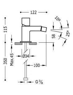 Bateria bidetowa Tres Cuadro Exclusive stojąca czarny/chrom 00712001NED