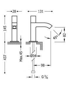 Bateria kranowa jednostrumieniowa Tres Cuadro Exclusive czarny mat 00750301NM
