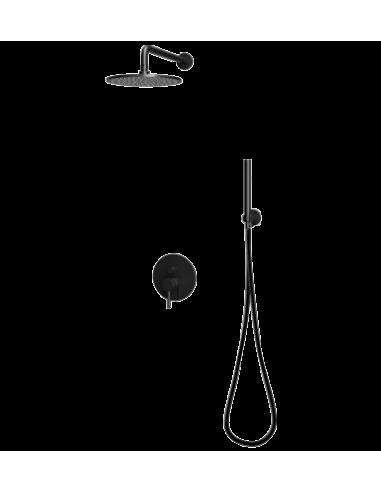 Zestaw natryskowy podtynkowy Omnires Y czarny mat deszczownica 25cm Y SYS Y18 BL