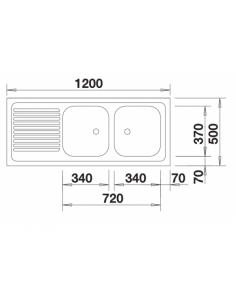 Zlewozmywak BLANCO R-ZS 12 X 5 - 2 Z PRZELEWEM NAKŁADANY 510504